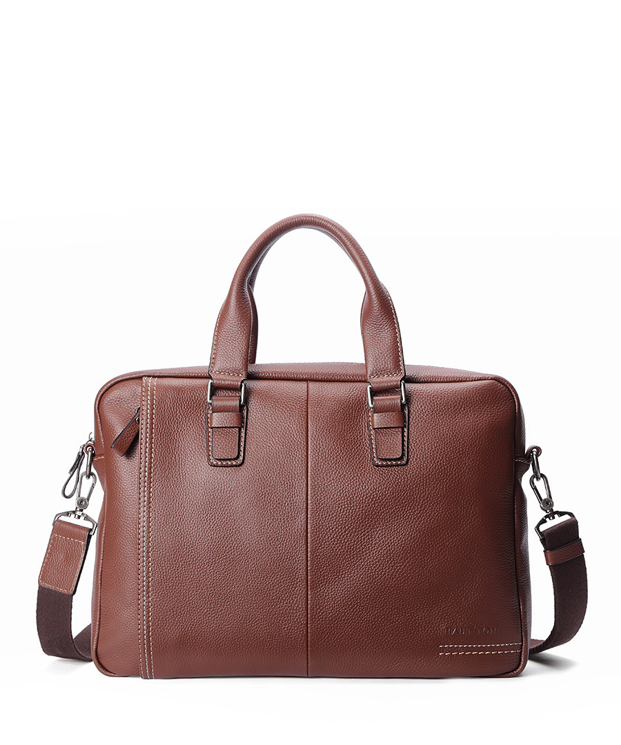 Brown leather panel briefcase Sale - woodland leathers