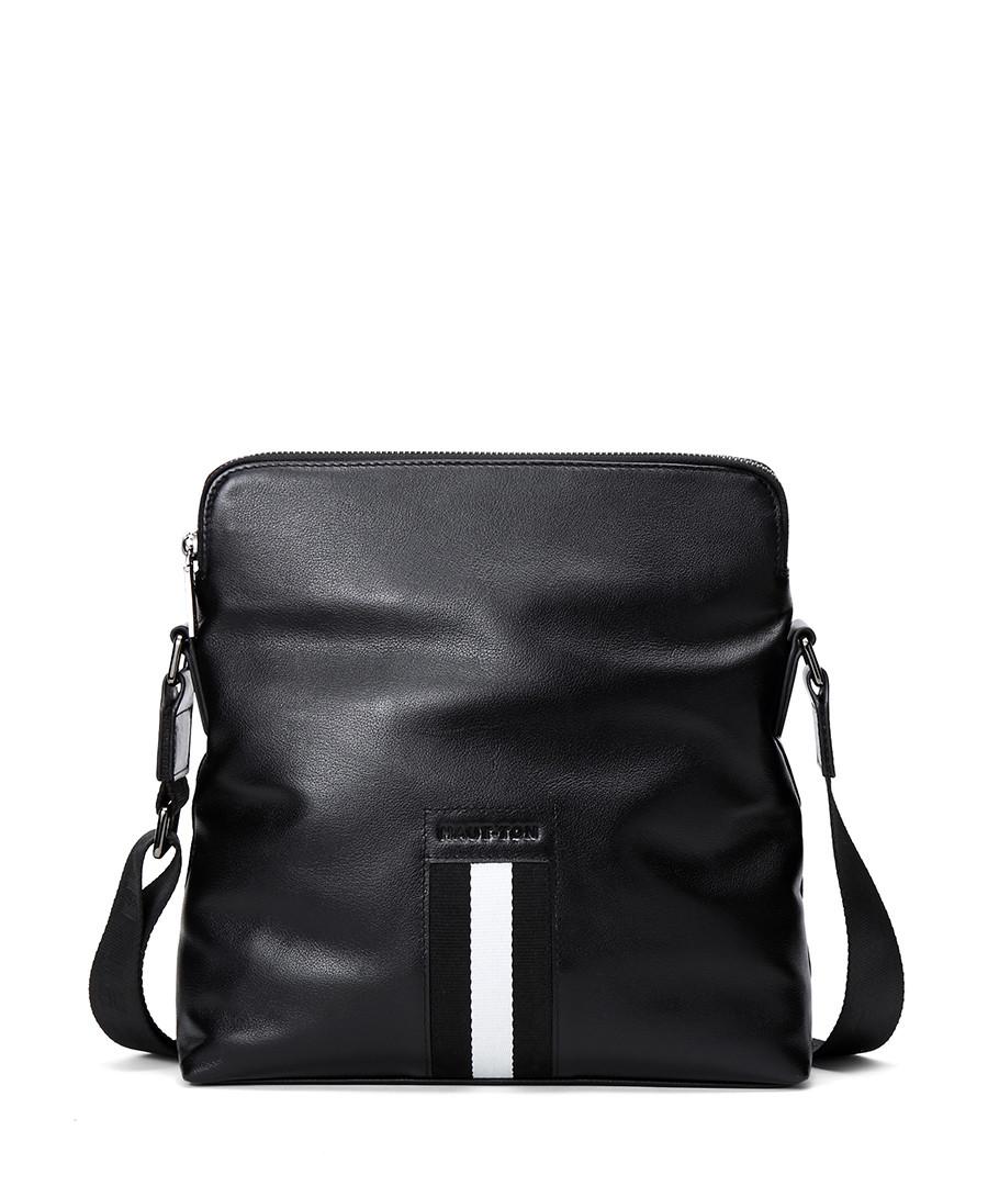 Black & white leather messenger bag Sale - hautton