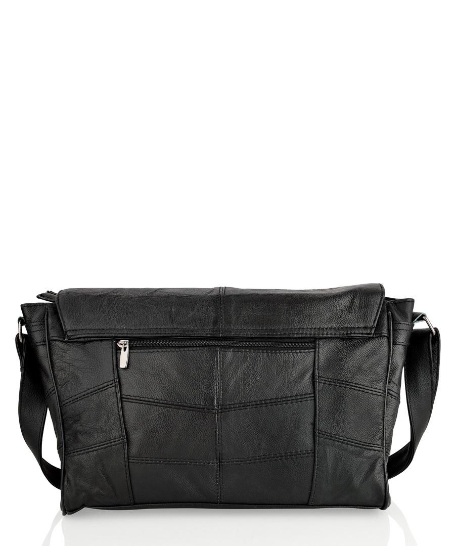 Black leather stitched shoulder bag  Sale - lorenz