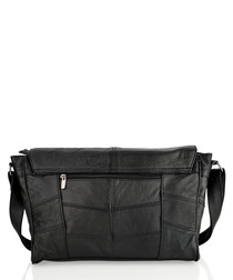 Black leather stitched shoulder bag