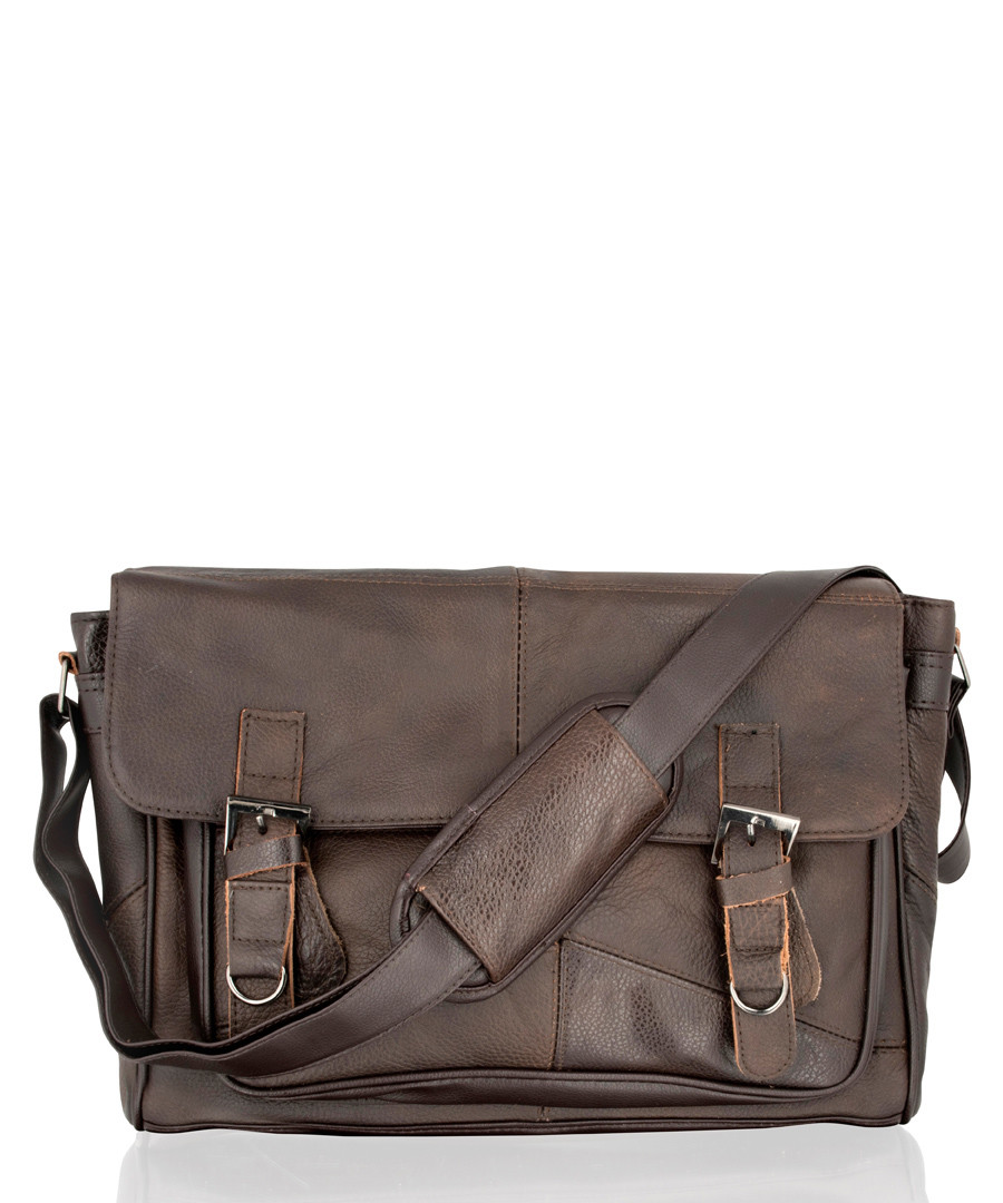 60ad9452d12c Dark brown leather buckle shoulder bag Sale - lorenz ...