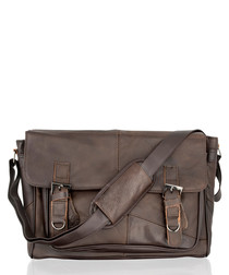 Dark brown leather buckle shoulder bag