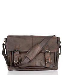 Dark brown leather buckle shoulder bag