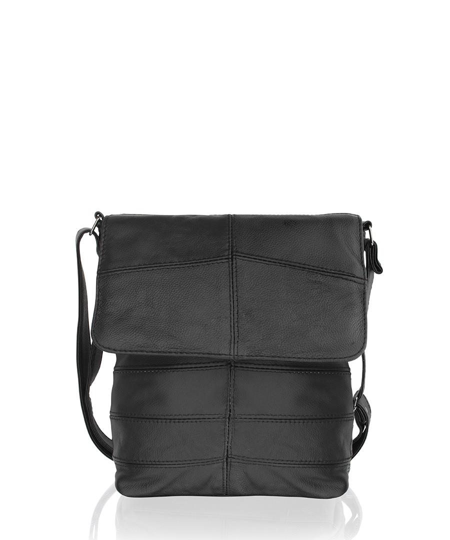 Black leather stitched crossbody bag Sale - woodland leather