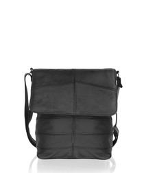 Black leather stitched cross body bag