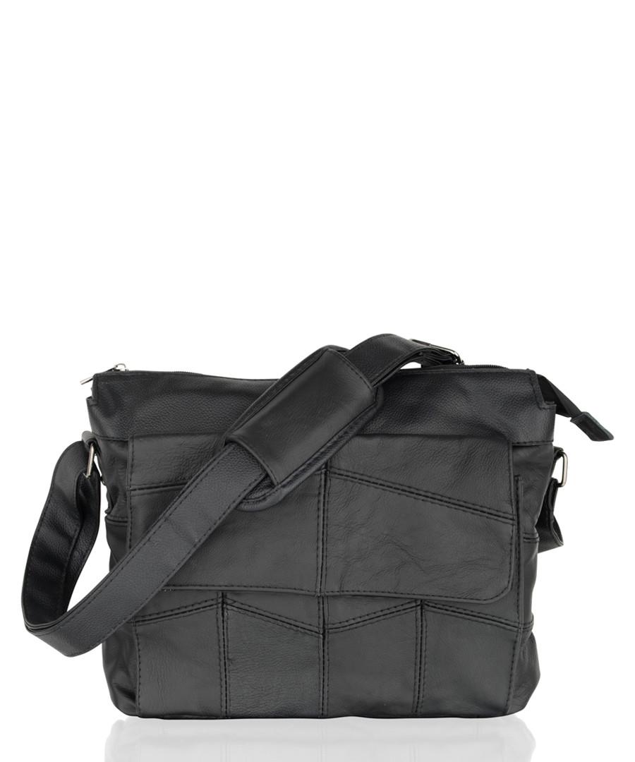 Black leather stitched shoulder bag Sale - woodland leather