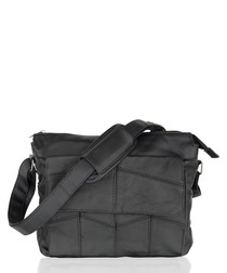 Black leather stitched shoulder bag