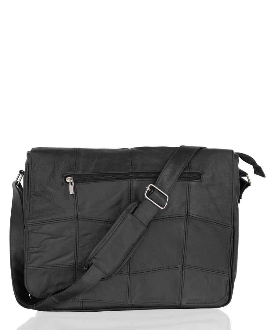 Black leather sectioned shoulder bag Sale - woodland leathers