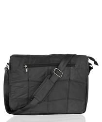 Black leather sectioned shoulder bag