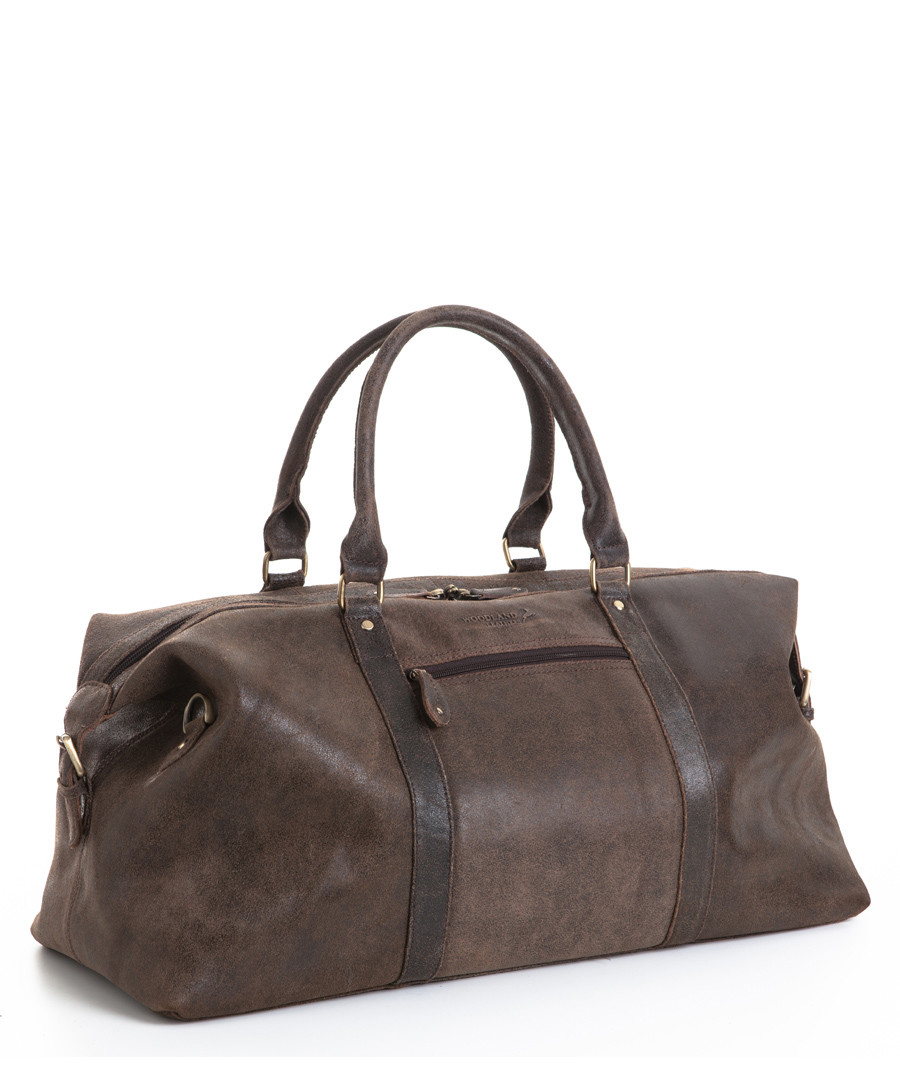 Crackle brown leather holdall  Sale - woodland leathers