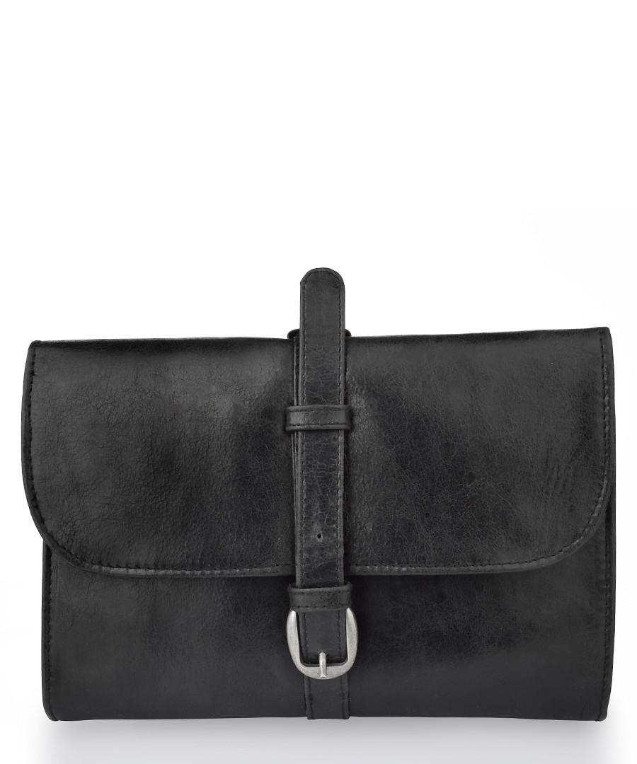 Black leather buckle detail pouch Sale - woodland leathers