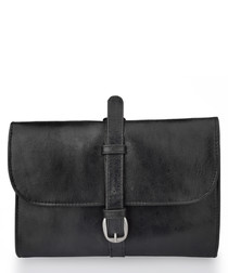 Black leather buckle detail pouch