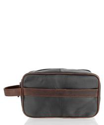 Brown leather waterproof wash bag