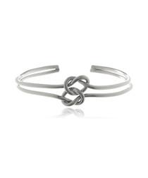 Rhodium-plated twin knot bracelet