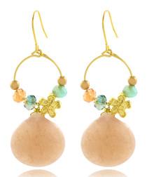 14ct gold-plated & rose quartz earrings