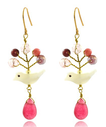 14ct gold-plated & pink bead earrings
