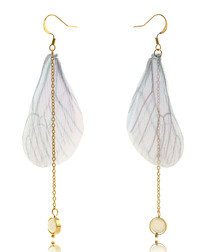 14ct gold-plated & silk wing earrings