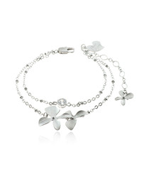 Rhodium-plated double flower bracelet
