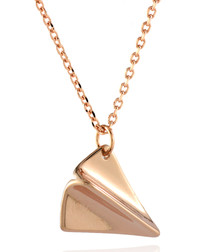 Rose gold-plated paper plane necklace