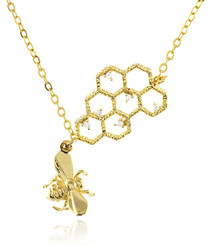 14ct gold-plated beehive necklace