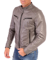 Grey leather button-top jacket