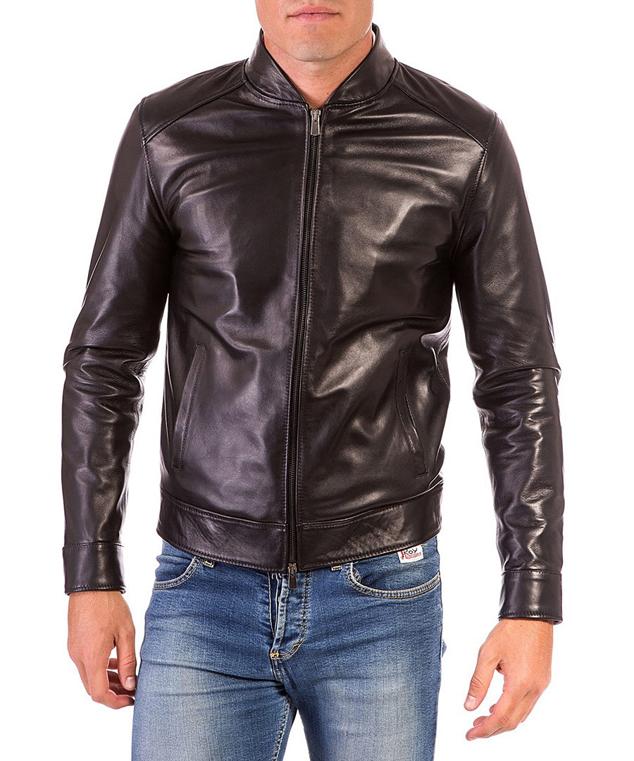 Black leather zip up jacket Sale - ad milano