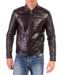 Black leather zip up jacket