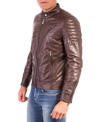 Dark brown leather padded jacket