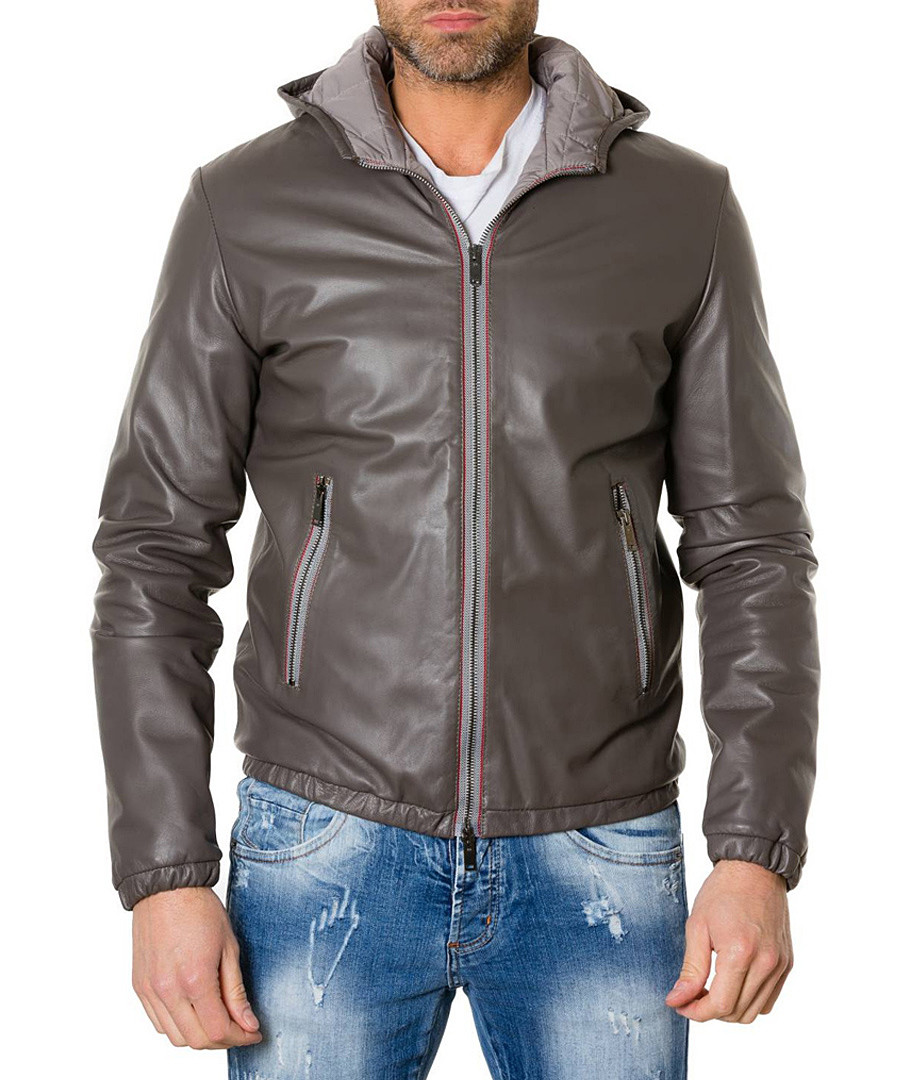 Grey leather hooded jacket Sale - ad milano