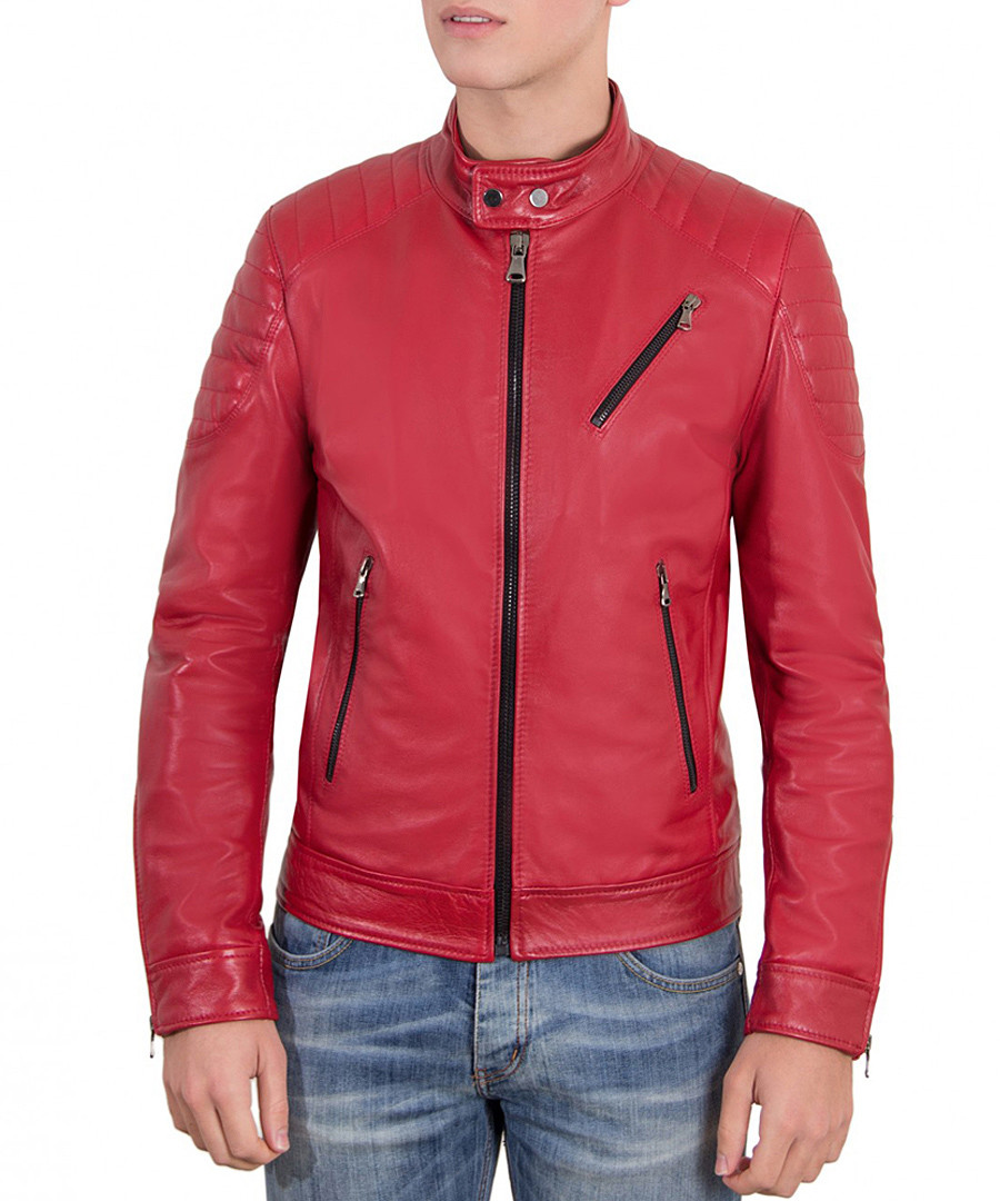 Red leather black zip jacket Sale - ad milano