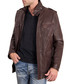 Dark brown leather high neck pocket coat Sale - ad milano Sale