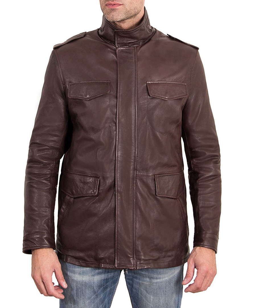 Dark brown leather high neck pocket coat Sale - ad milano