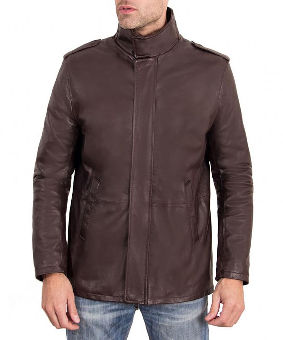 Dark brown leather zip coat Sale - ad milano