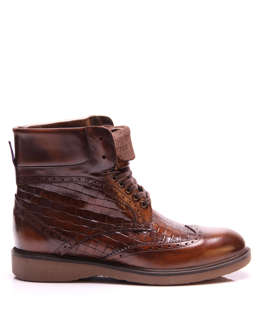 Brown leather textured lace up boots Sale - REPRISE