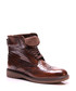 Brown leather textured lace up boots Sale - REPRISE Sale