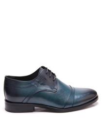 Turquoise leather paneled shoes