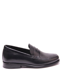 Black leather woven top loafers