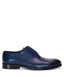 Dark blue leather Oxford shoes