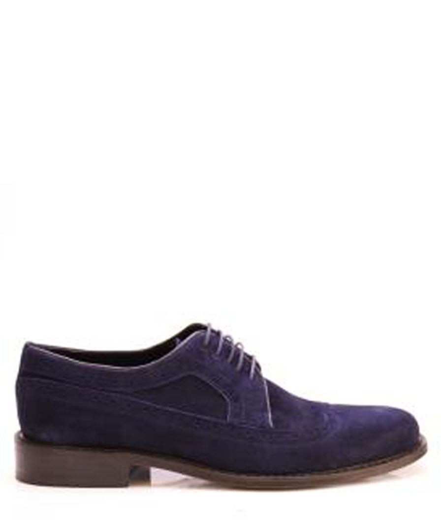 Dark blue suede leather brouges Sale - REPRISE