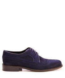 Dark blue suede leather brouges
