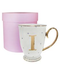 Metallic gold letter I alphabet mug
