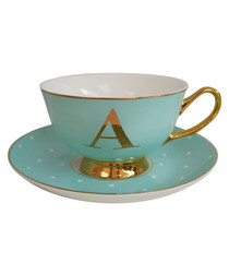 Letter A mint china teacup & saucer