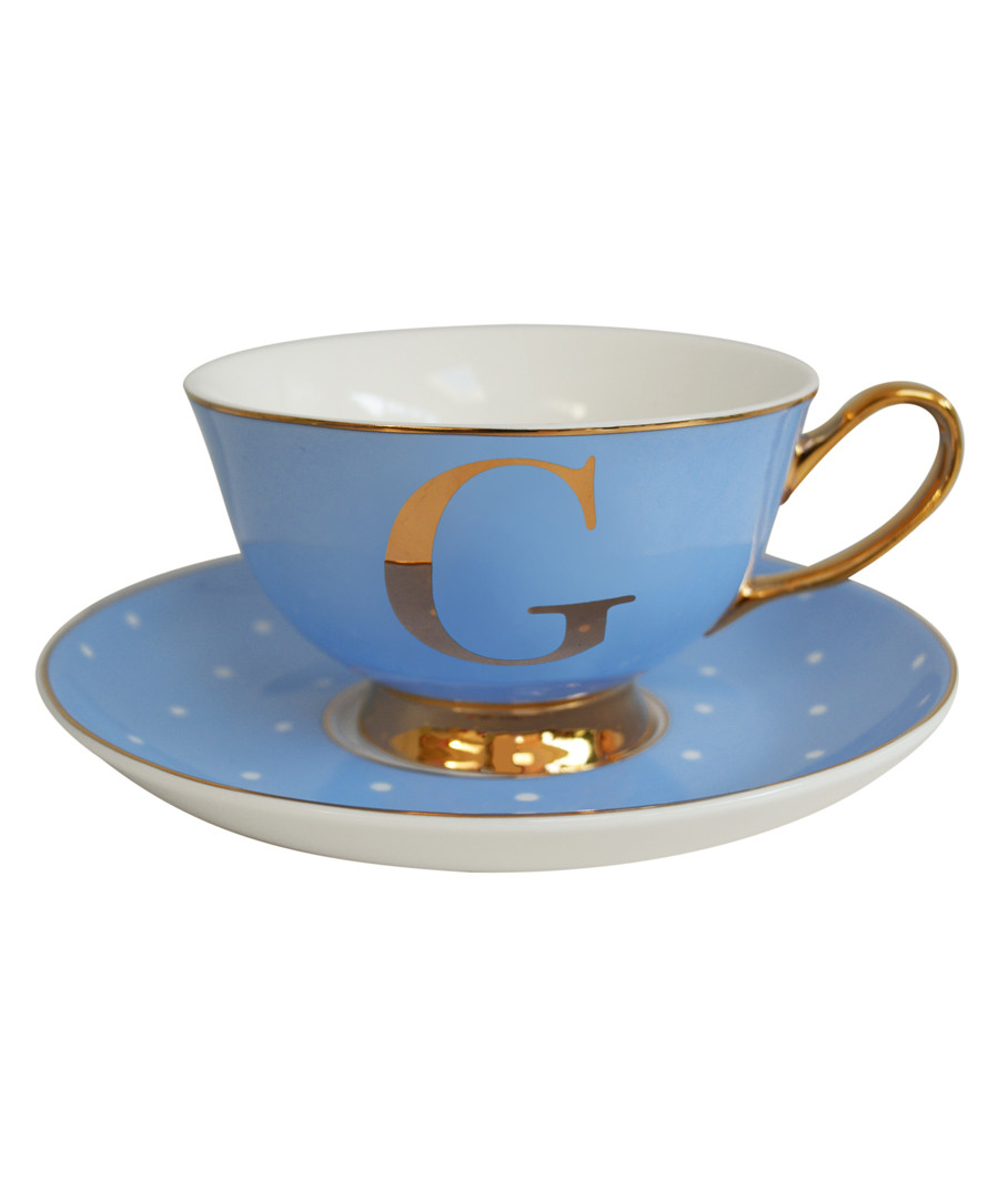 Letter G blue china teacup & saucer Sale - bombay duck