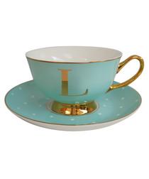Gold & mint letter L teacup & saucer