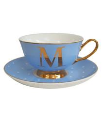 Gold & blue letter M teacup & saucer