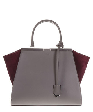 c197787bd9 3 Jour charcoal   red leather grab bag Sale - FENDI Sale