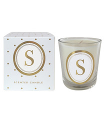 Letter S gold-tone alphabet candle