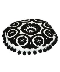 Flamenco black linen floral cushion