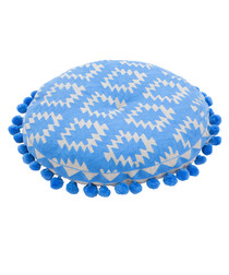 Aztec blue linen embroidered cushion