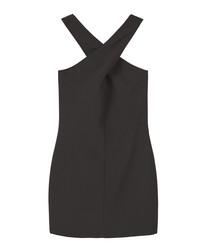 Black crossover halterneck mini dress